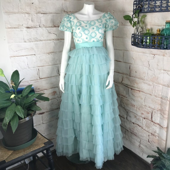 Vintage 60s Nadine Organdy XS Cupcake Tiered Floral Formal Prom Dress Tulle vtg 1960s Xsmall blue embroidered gown maxi