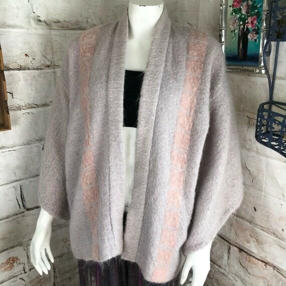 Vintage 80s Pastel Mohair Short Kimono M Sweater Jacket Artist Susan Lightcap 1980s Coat Cardigan striped stripe Art to wear