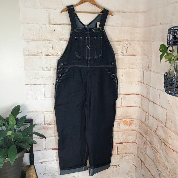 Mens 80s Mint Mens Vintage Stiff Indigo Dark Blue 42x30 Roebuck Overalls sears Carpenter