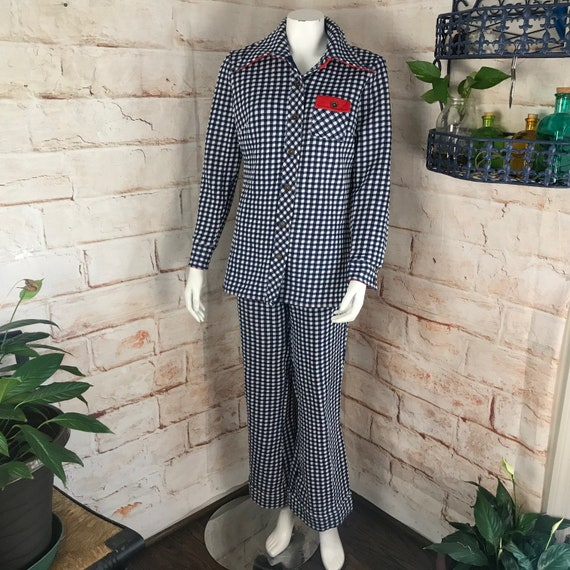 Vintage 70s Blue Plaid Gingham L Bell Bottom Pants Shirt Polyester Leisure Suit 1970s Disco Large
