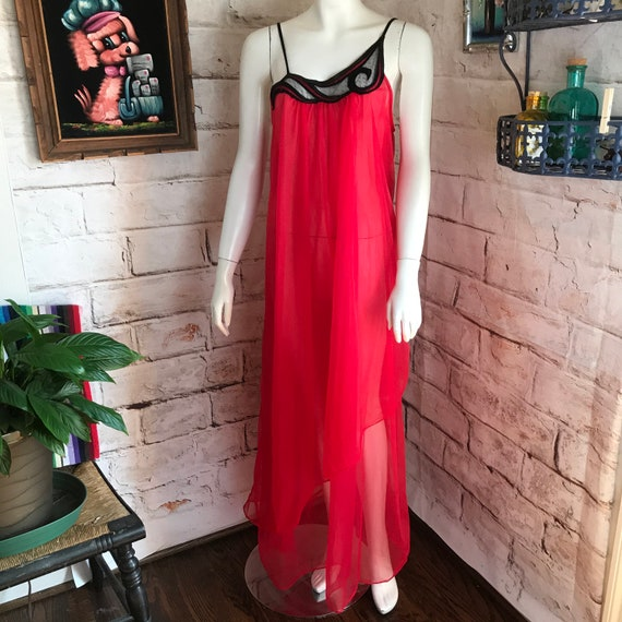 Vintage 80s Nightgown Sheer Red Double Nylon Asymmetrical Night Moves Lingerie L Large 1980s Night Moves