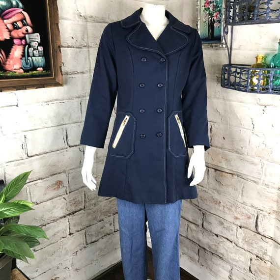 Vintage 60s 70s Womens Navy Blue S Mod Trench Coat Peacoat Long Jacket 1970s Small