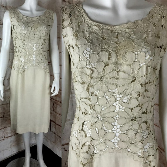 Vintage 60s Embroidered M/L Floral Irish Linen Lace Cutout Sheer Shift Sheath Dress vtg 1960s 50s Medium/Large Natural Ivory White