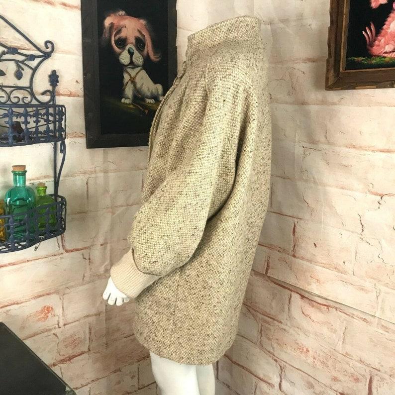 Vintage 80s Ecru Wool Winter Coat XLargeLarge Portrait Avant Garde Oversized