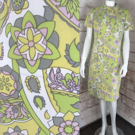 Vintage 60s Pastel Psychedelic L Mod Floral Shift Scooter Dress Polyester 1960s gogo mini geometric