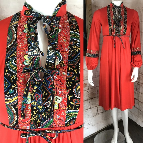 Vintage 70s Act I Calico Floral Paisley Red Prairie Midi Dress S 1970s Secretary Small Boho