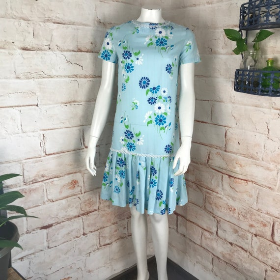 Vintage 60s Floral Drop Waist Shift Mini S Blue Dress Scooter mod Flower Power 1960s Small