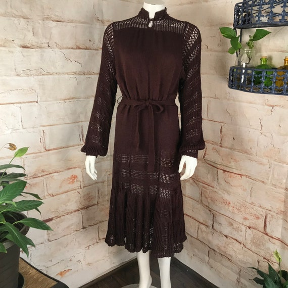 Vintage 70s Dark Chocolate Brown Crochet Knit Sheer Sweater Midi Secretary Dress 1970s Medium