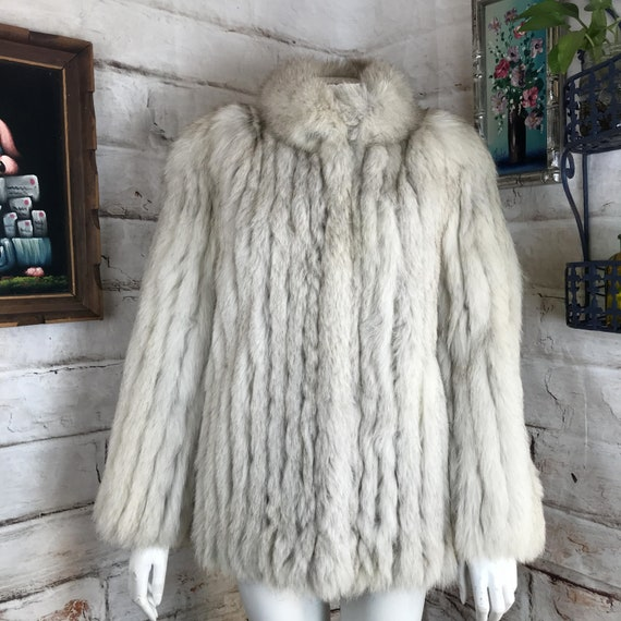 EUC Womens Vintage Saga Fox Cream White Gray Silver Real Fur Ribbed Coat Jacket S Small 80s