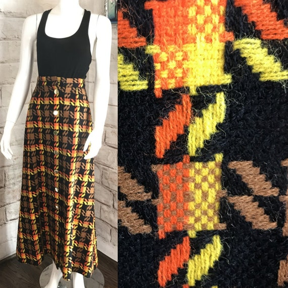 Vintage 70s Carole King Maxi XS Acrylic Houndstooth Geometric Sweater Skirt mod 1970s XSmall