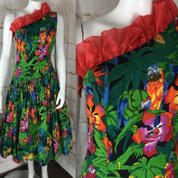 Vintage 80s Novelty Birds Floral Tropical Hawaiian S Prom Party Full Skirt Dress One Shoulder 1980s Small Tulle