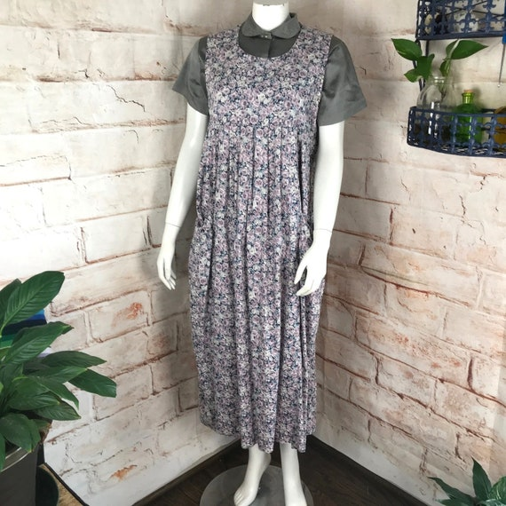 Vintage 80s Laura Ashley S/M Floral Rose Roses Jumper Midi Tent Dress purple vtg Small/Medium trapeze