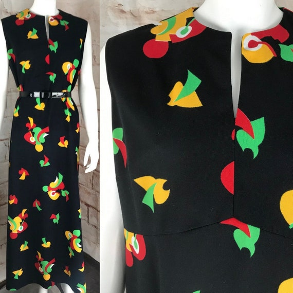 Vintage 60s 70s Puritan Forever Young XL Geometric Maxi Shift Dress Caftan mod XLarge polyester sleeveless