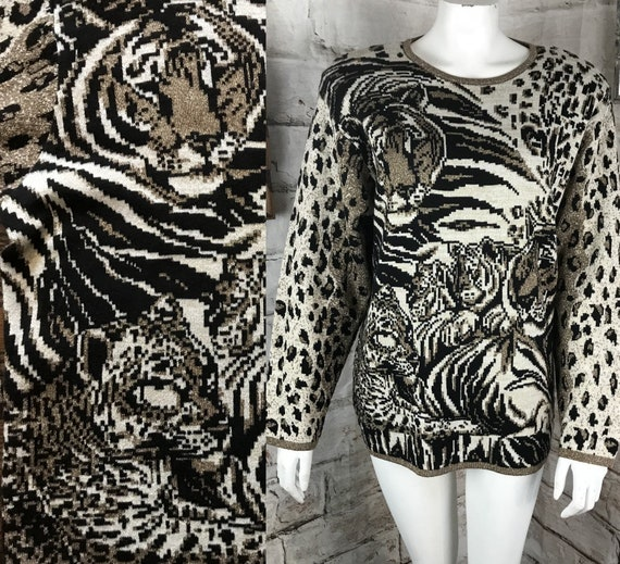 Vintage 80s 90s Womens Metallic Gold Lurex Leopard M/L Tiger Striped Novelty Sweater cheetah Medium Large 1980s 1990s