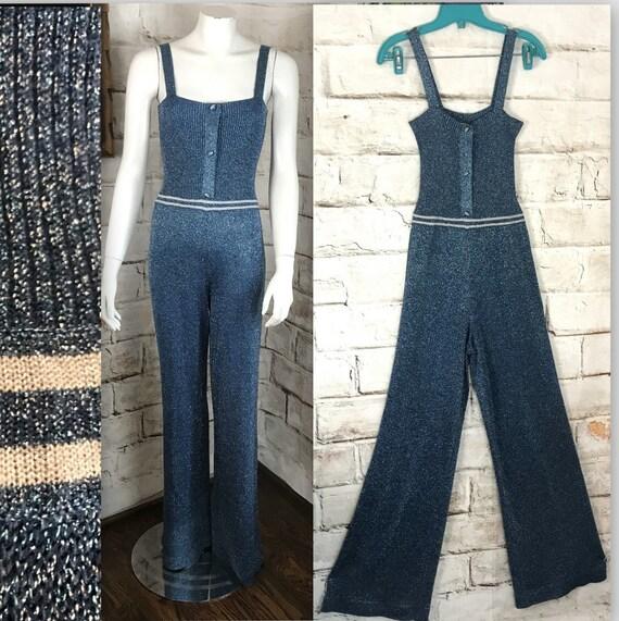 Vintage 70s Metallic Blue Lurex Disco M Wide Leg Bell Bottom Jumpsuit Palazzo Pants 1970s Medium