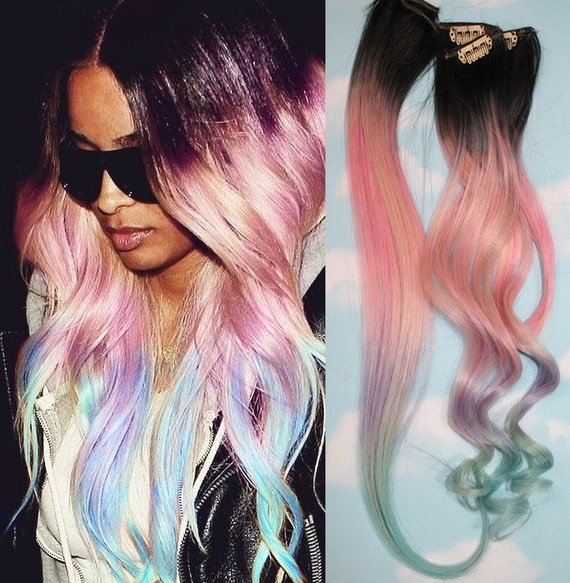 Light Pastel Dip Dyed Hair Clip In Hair Extensions Tie Dye Etsy