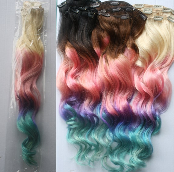 Full Set 100 Grams Bundle Clip In Pastel Hair Extensions Etsy