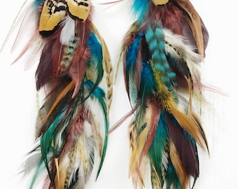 Wild and Free Bohemian Feather Earrings, long feather hair clip, Handmade Extra Long Chain Feather Earring, turquoise and natural feathers