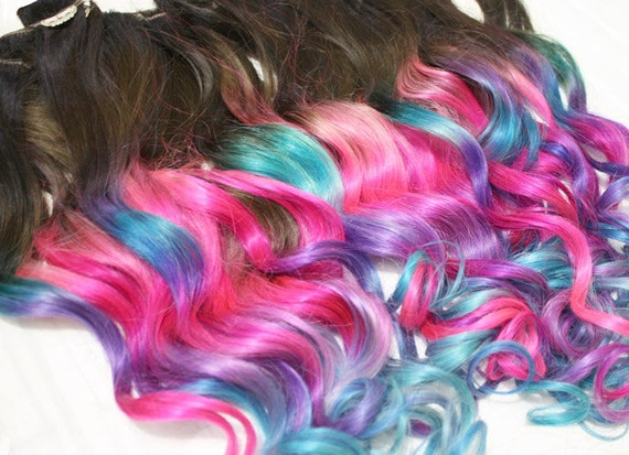 Ombre Pink Valentine Dip Dyed Hair Clip In Hair Extensions Etsy