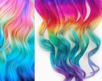 Custom rainbow under lights, Clip In Hair Extensions, rainbow brite Hair, unicorn birthday Hair, underlights, rainbow birthday, pride