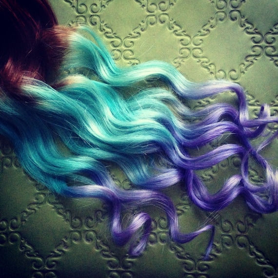 Pastel Clip In Hair Extensions Ombre Hair Mint Purple Tie Etsy