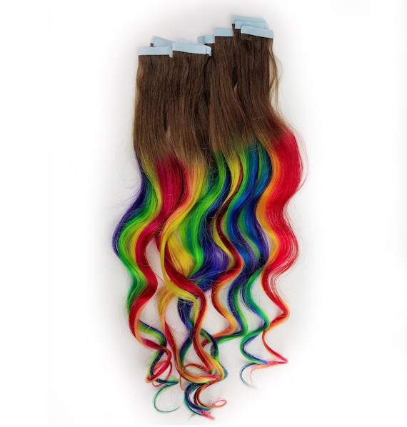 Rainbow Tape Ins Human Hair Extensions Tape In Extensions Etsy