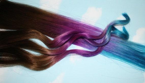 Purple Blue Tie Dye Hair Tips Purple Amp Turquoise Human Etsy