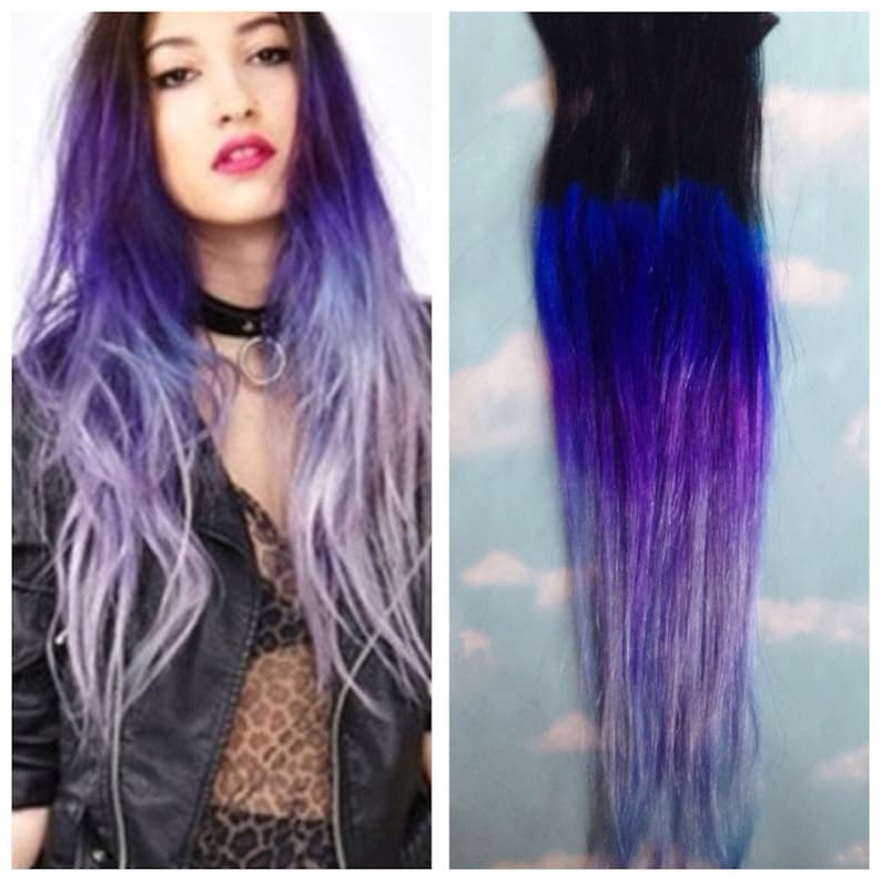 Purple Ombre Hair Clip Extensions Blue Ombre Hair Purple Etsy
