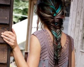 Handmade Rainbow Colored Human Hair Extensions, Fishtail Braid, Human Hair Extension Clip, Hair Wefts, Clip in Hair, Pastel Hair