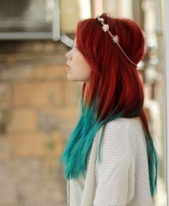 Handmade Mermaid Red Ombre Dip Dyed Hair Extensions Tye Dye Tips 20 22 Inches Long Clip In Hair Extensions Hippie Hair