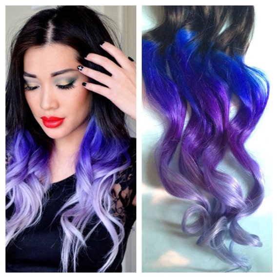 Purple And Blue Hair Clip Extensions Blue Ombre Hair Purple Etsy