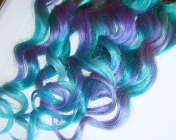 Blue And Purple Clip In Hair Extensions Ombre Hair Tie Dye Etsy