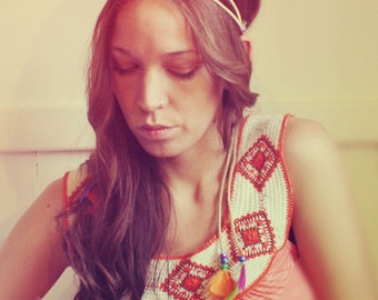 Handmade Leather Hippie Feather Headband, Tie Headband Rainbow Feathers-Wear It Many Different Ways, Feather Extensions