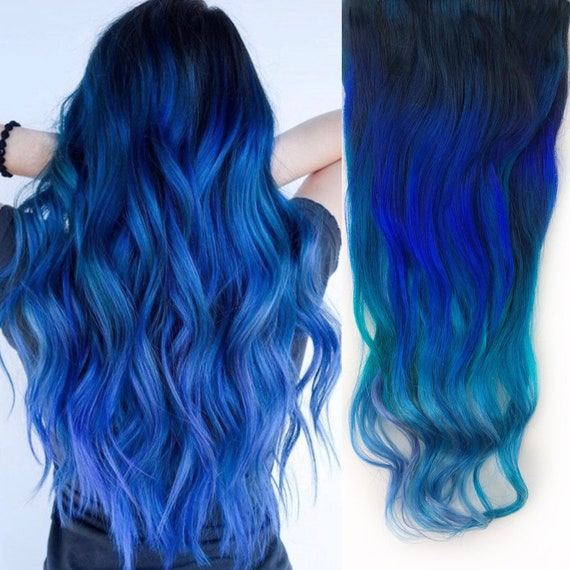 Ombre Teal Blue Tip Dyed Hair Extension Teal Hair 22 Etsy