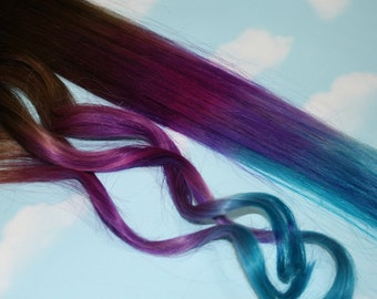 Blue and Purple Hair Extensions, Purple & Turquoise, Human Hair Weave, Colored Hair Extension Clip, Clip in Hair, Dip Dyed Hair, Full Head