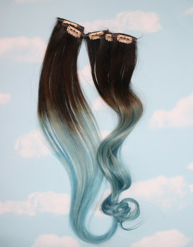 Light Blue Dip Dyed Hair Extensions For Brown Hair 20 22 Inches Long Clip In Hair Extensions Hippie Hair Pastel Festival Hair