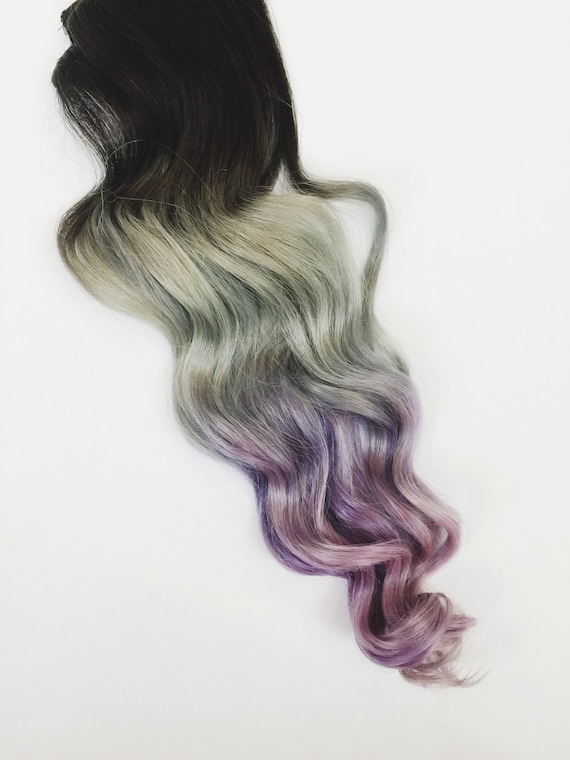 5 Star Seller Grey Purple Ombre Hair Extensions Silver Hair Etsy