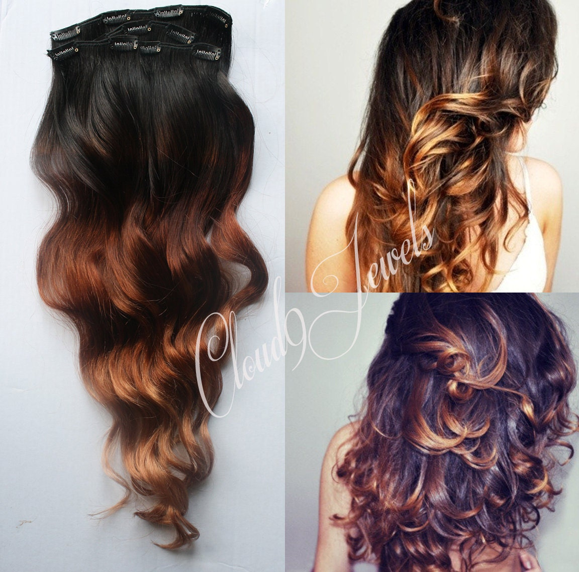 Clip In Natural Ombre Hair Extensions Black to Bronzed ...
