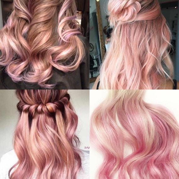 Peekaboo Rose Gold Pale Pink Highlights Balayage Human Hair Etsy