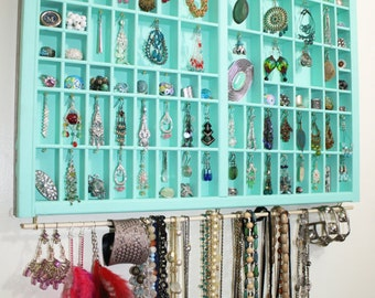 Handmade Jewelry Display Made With Vintage Type Drawer, Large Printer Drawer Jewelry Display, Accessories Storage, Earring Holder Display