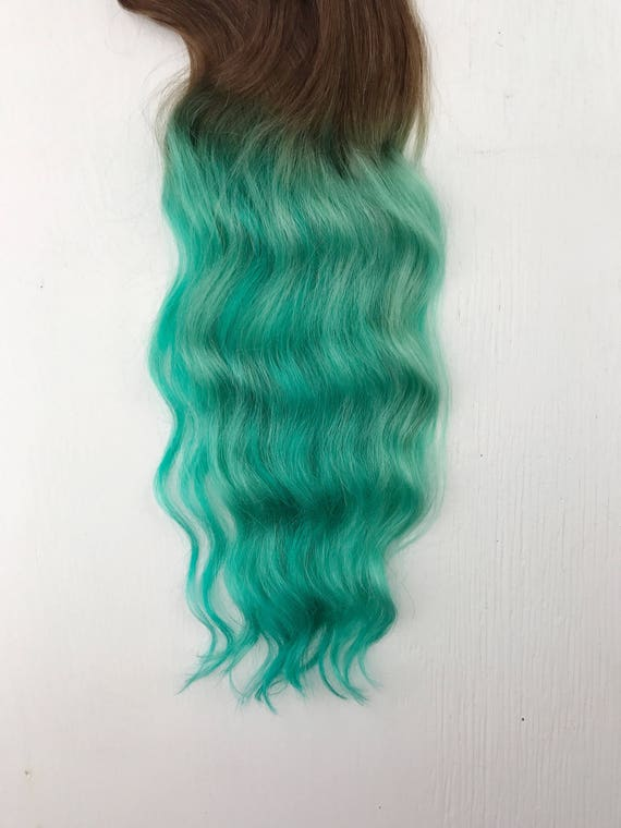Clip In Pastel Hair Extensions Mint Hair Hair Weave Wide Etsy