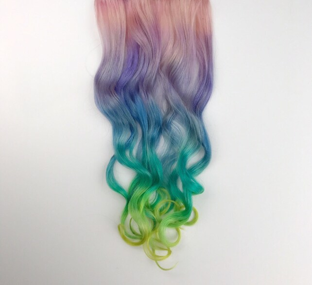 Unicorn Hair Extensions Clip In Pastel Hair Extensions Full Etsy