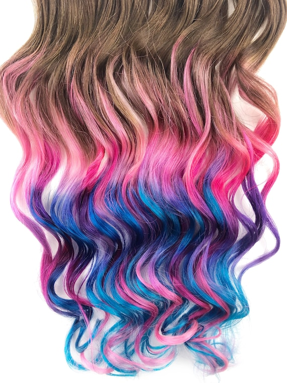 Human Hair Extensions Hair Wefts Colored Hair Extension Clip Dip Dyed Hair Pastel Tie Dye Tips Handmade Ombre Clip in Hair