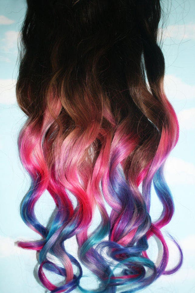 Custom Tape Ins Human Hair Extensions Cotton Candy Unicorn Etsy