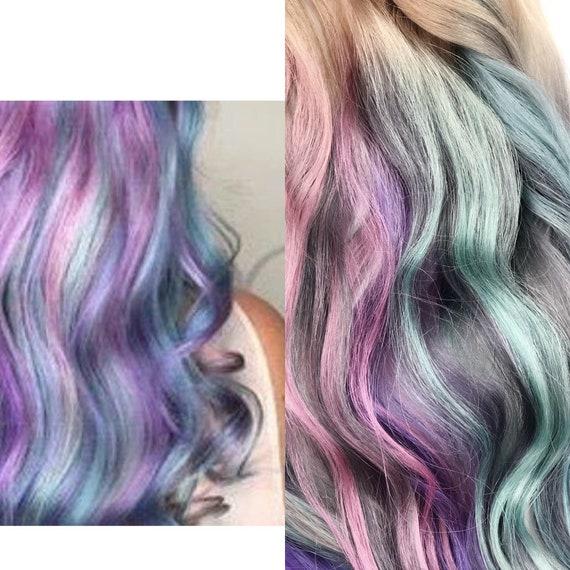 Rainbow Pastel Clip In Hair Extensions Silver Hair Hair Etsy