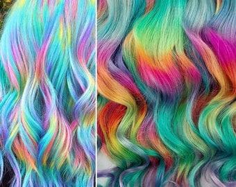 Pastel Prism Rainbow Clip In Hair Extensions, Ombre Hair,  Tie Dye Tips,  Hair Wefts, Human Hair Extensions, tape in rainbow hair, bundles