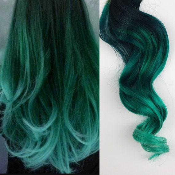 Green Hair Ombre Dip Dyed Hair Clip In Hair Extensions Etsy