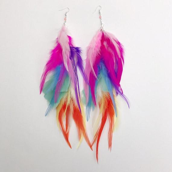 Pastel Rainbow Feather Earrings Pride Earrings Feather Hair Etsy