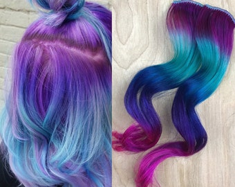 Gem under lights, Blues, turquoise ombre hair extensions, clip in hair extensions