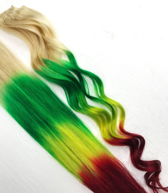 Rasta Clip In Hair Clips Wide Tracks Ombre Hair Extensions Etsy